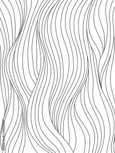 Czarno-białe gładkie fale. Abstrakcjonistyczny tło z kędzierzawym włosy lub spływowym wzorem dla kolorystyki książki lub graficznego projekta ,. Ilustracji wektorowych.