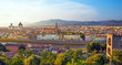 Quadro A fabulous panoramic view of Florence from Michelangelo Square at sunset. It is a pilgrimage of tourists and romantics. Duomo Cathedral. Italy, Tuscany