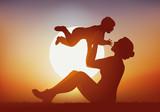 mère, enfant - bonheur - aimer - jouer - bébé - amour - coucher de soleil - embrasser - bonheur - 183623085