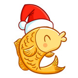 Funny and cute yellow fish wearing Santa's hat for Christmas and smiling - vector. - 183624031
