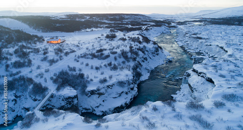 Aerial photo of waterfall in winter, Iceland