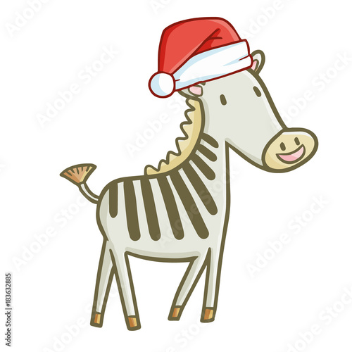 Funny and cute light green zebra horse wearing Santa's hat for Christmas and smiling - vector.