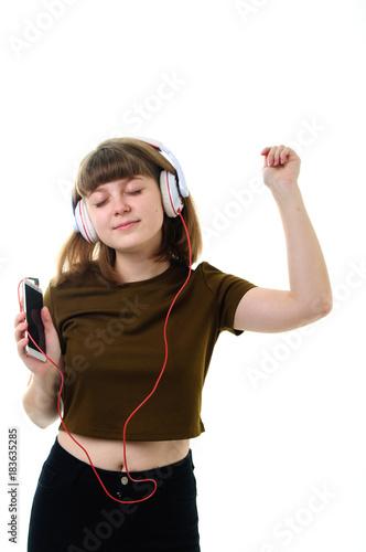 Fotobehang Muziek Young girl Listening music