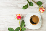 Cup of the coffee with roses - 183637280