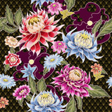 Seamless pattern from painted aster flowers. Japanese style.  - 183638897