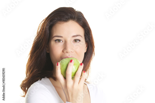 beautiful woman with green apple in her hand