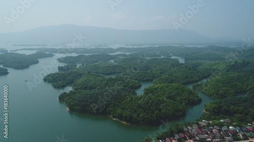 Tuinposter Bleke violet Laos Viang Vieng vue du ciel