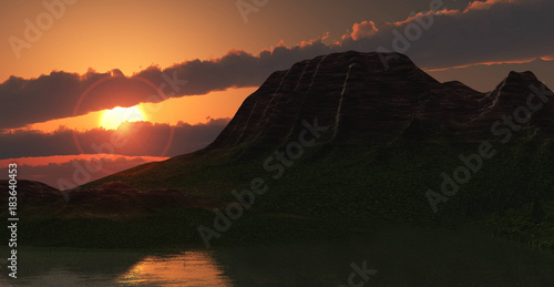 Foto op Plexiglas Diepbruine sunset over the mountain lake, mountain landscape