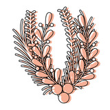 color rustic branches leaves with natural flowers - 183642605