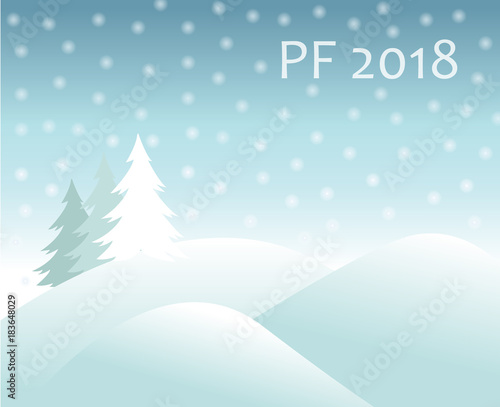 Deurstickers Lichtblauw christmas winter landscape - hills covered with snow and spruce tree, falling snow balls and text sign PF 2018 new year vector greeting card