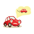vector cartoon car with eyes worrying about possible problems with engine and exhaust system thinking about it with negative emotion. Isolated illustration on a white background. - 183651668