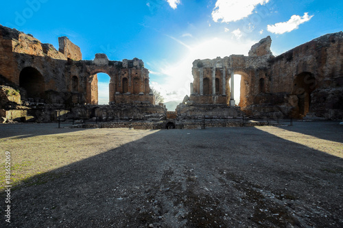 old ruins in greek theater in catania sicily