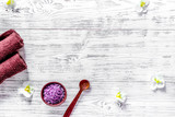 Lavender bath salt on wooden background top view copyspace - 183652260