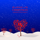 Winter tree in the shape of a heart - 183653843