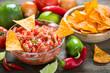 Salsa dip with tortilla chip  - 183654214