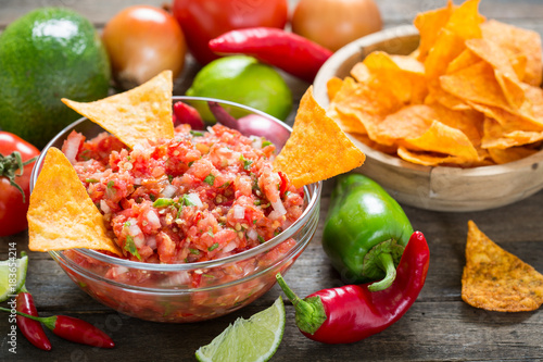 Sticker Salsa dip with tortilla chip