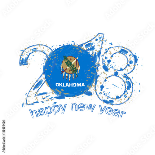 2018 Happy New Year Oklahoma US State grunge vector template for greeting card and other.