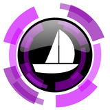 Yacht pink violet modern design vector web and smartphone icon. Round button in eps 10 isolated on white background. - 183658030