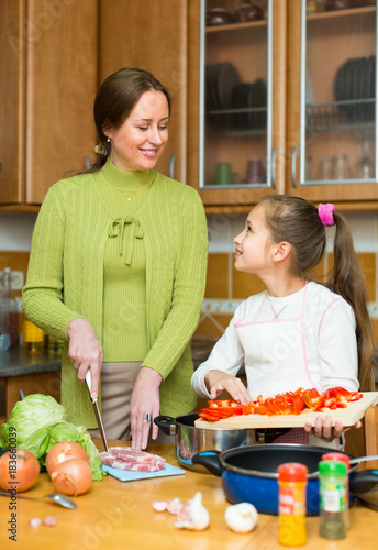 Sticker girl and mom with vegetables