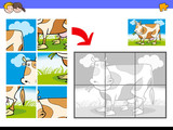 jigsaw puzzles with cow farm character - 183661218