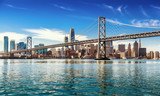 Downtown San Francisco and Oakland Bay Bridge on sunny day  - 183663474