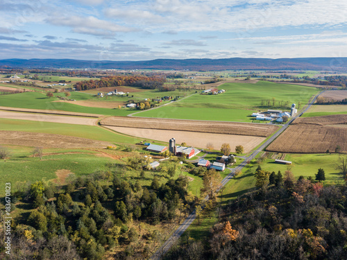 Foto op Canvas Natuur Aerial of Farmland Surrounding Shippensburg, Pennsylvania during late Fall