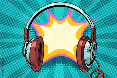Fotobehang Muziek headphones comic bubble audio