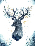 Watercolor closeup portrait of blue deer. Isolated on white background. Hand drawn christmas indigo illustration. Greeting card animal winter design decoration - 183672495