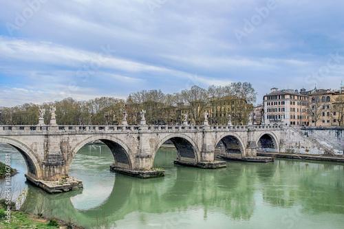 Tuinposter Rome sant'angelo bridge on river in rome