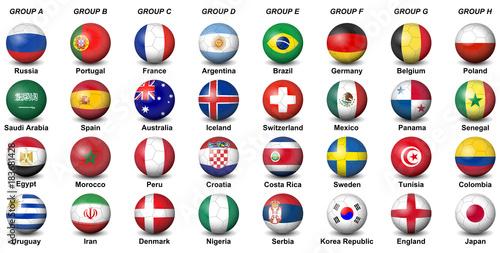 soccer balls flags countries final tournament  2018 football