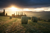 Rural landscape with rolls of hay, Tuscany, Italy - 183681658