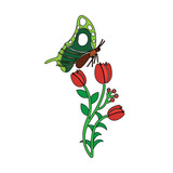 nature blossom branch of red flowers and butterfly vector - 183682474