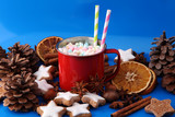 Enamel cup of hot cocoa with marshmallows and candy canes. Could also be coffee. Perfect winter time treat. - 183683232