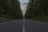 Droga, las, sunrise, Podlasie, Polska - 183683804