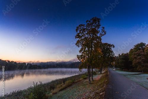 In de dag Aubergine Morning foggy landscape image of Nemunas river