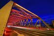 Quadro Bridge of steel frame structure, night in Shanghai, China
