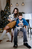 Beautiful young couple in the New Year atmosphere with puppies of the Husky - 183692098