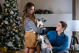 Beautiful young couple in the New Year atmosphere with puppies of the Husky - 183692228