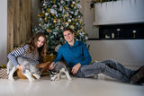 Beautiful young couple in the New Year atmosphere with puppies of the Husky - 183692287