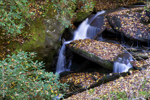 Small waterfall in fall in the Smoky Mountains.