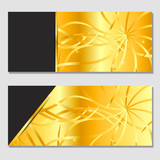 A horizontal gift design background for an invitation, a voucher. For a banner, postcards. flyer, label, certificate, company card. Vector. Gold. - 183697875