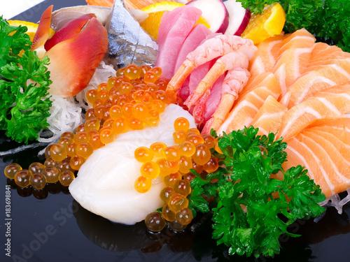 Plexiglas Sushi bar Japanese sushi set