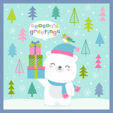 Cute polar bear and bird with pine trees background for christmas and new year card desgin - 183699276