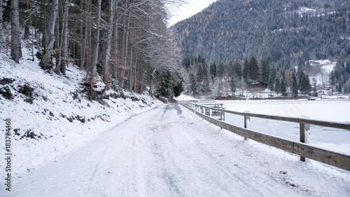 Tuinposter Weg in bos Passeggiata invernale