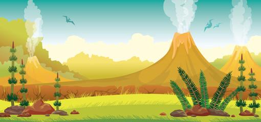 Prehistoric landscape - volcano, pterodactyls, grass