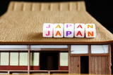 Word arrange to the word japan on miniature plastic japanese cottage roof model. - 183704872