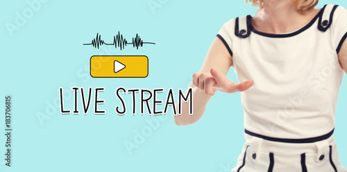 Live Stream concept with young woman on a blue background Poster