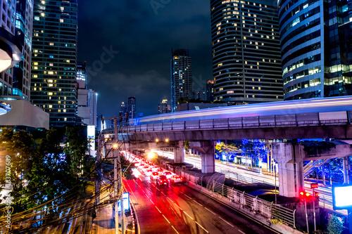 Foto op Canvas Bangkok The beautiful landscape of Bangkok at night, full of light and busy traffic. long exposure
