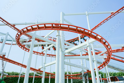 Foto op Aluminium Amusementspark Funny with Roller Coaster in amusement park