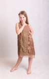 girl in a brown dress